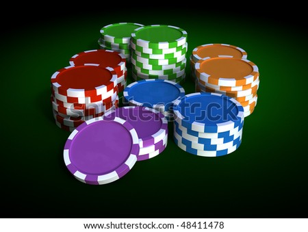 colorful chips on a green table