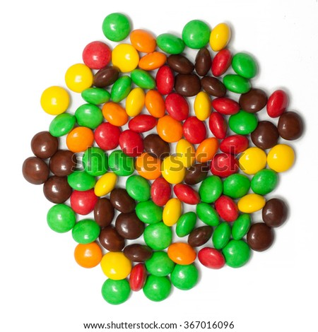 colorful chocolate coated candy - stock photo