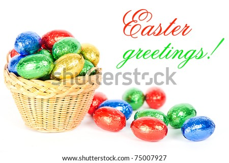 Colorful chocolate eggs. easter card concept