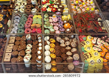 Colorful Chocolates and Pralines 