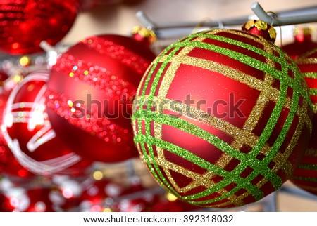 Colorful christmas balls and christmas decoration - stock photo