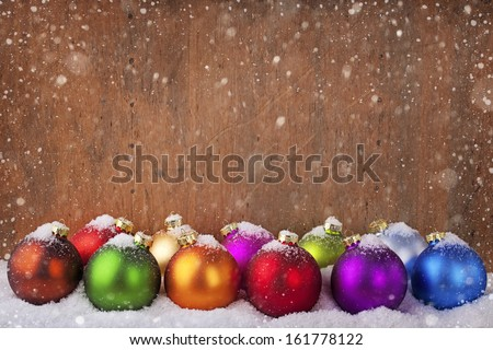 Colorful christmas balls in a row  - stock photo