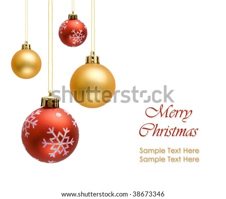 Colorful christmas balls over white background - stock photo