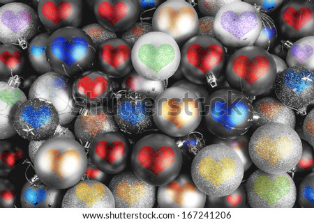 Colorful Christmas baubles hearts