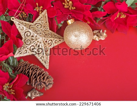 Colorful Christmas border on a red background  - stock photo