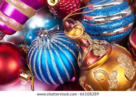 Colorful christmas decorations - stock photo