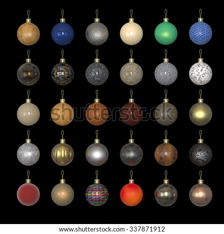 Colorful christmas new year balls made out of different materials isolated on black. Gold, stone, wood, metal, car paint, metallic paint, perforated leather - stock photo