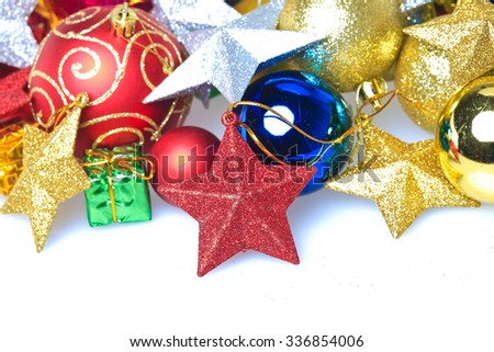 Colorful Christmas ornaments-Christmas balls,gift box with five-pointed star,isolated on white background - stock photo