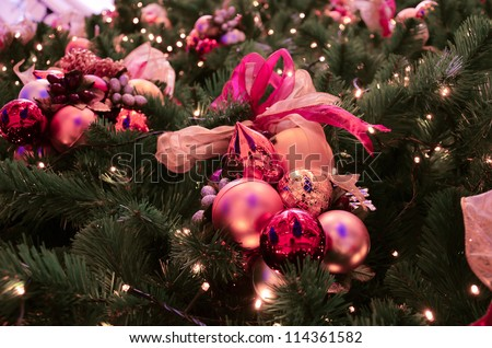 Colorful Christmas tree decoration with ornaments and lights