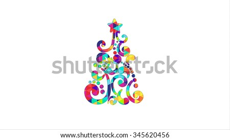 colorful christmas tree shape. Computer generated graphic