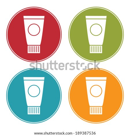 Colorful Circle Beauty Cream, Lotion or Gel Tube Icon, Sign or Symbol Isolated on White Background  - stock photo