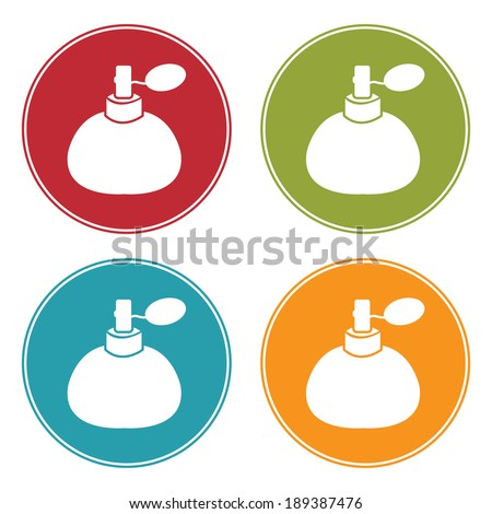 Colorful Circle Perfume, Cologne or Fragrance Spray Bottle Icon, Sign or Symbol Isolated on White Background  - stock photo
