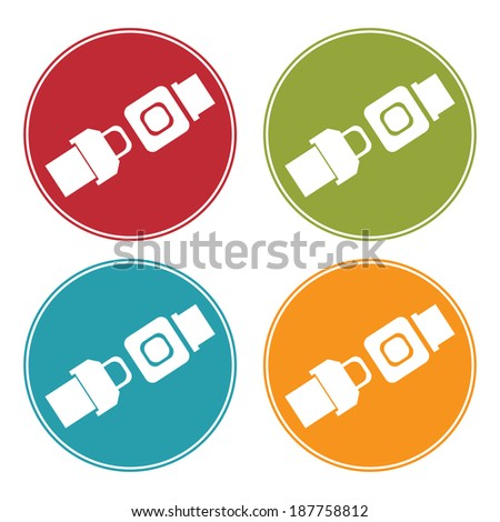 Colorful Circle Seat Belt or Safety Belt Icon, Sign or Symbol Isolated on White Background - stock photo