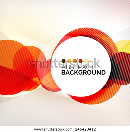 Colorful circles modern abstract composition with shadows and text. Geometric background - stock photo