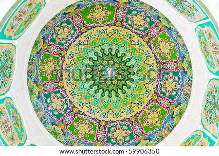 Colorful circular fresco - stock photo
