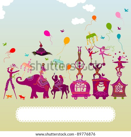 colorful circus caravan with magician, elephant, dancer, acrobat, mermaid and other fun characters - stock photo