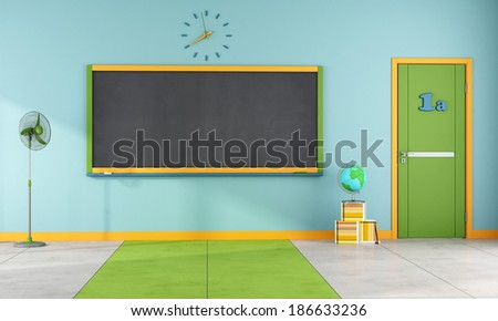 Colorful classroom without student and furniture - rendering - stock photo