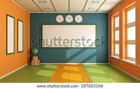 Colorful classroom without student with board,books and globe - rendering - stock photo
