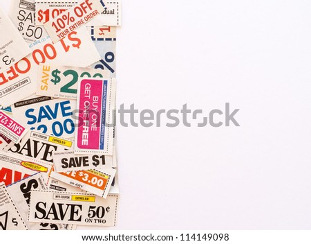 Colorful clipped multi valued grocery coupons with copyspace