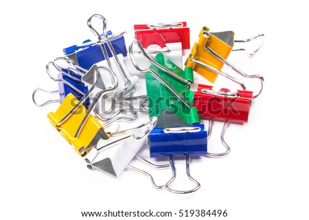 Colorful clips on a white background