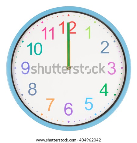 Colorful clock showing twelve o'clock isolated on white background - stock photo