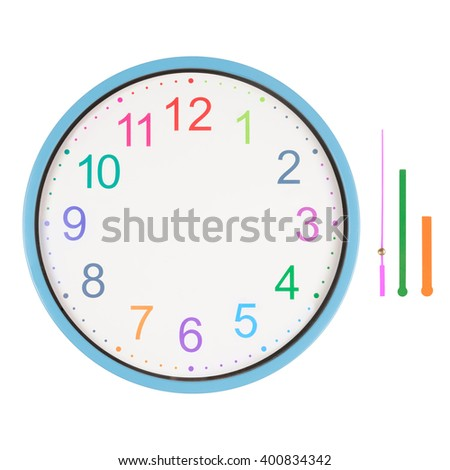 Colorful clock with hands separated isolated on white background. Just set your own time - stock photo