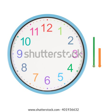 Colorful clock with minute and hour hands separated isolated on white background - stock photo