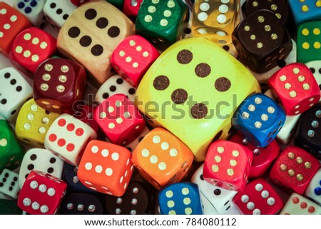 Colorful close up of dices and sixes