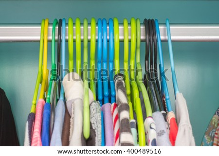 Colorful clothes hanger In closet
