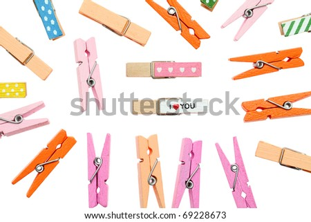 Colorful clothespin - stock photo