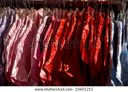 Colorful clothing at a local shop in Chinatown San Francisco California - stock photo