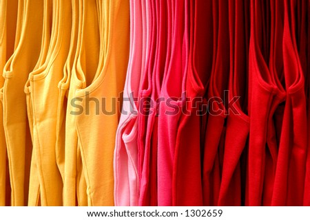 Colorful Clothing Rack Display - stock photo