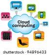 Colorful cloud computing illustration. Technology connectivity concept. - stock vector