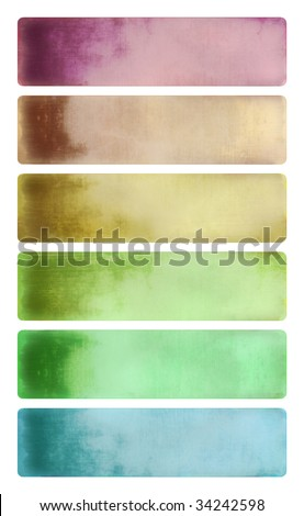 colorful cloudy watercolor textured banner set isolated with clipping path - stock photo