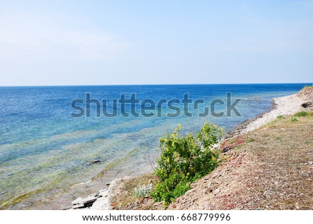 Colorful coastline view at the swedish island Oland in the Baltic Sea