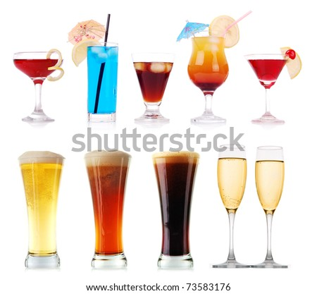 Colorful cocktails and other drinks collection - stock photo