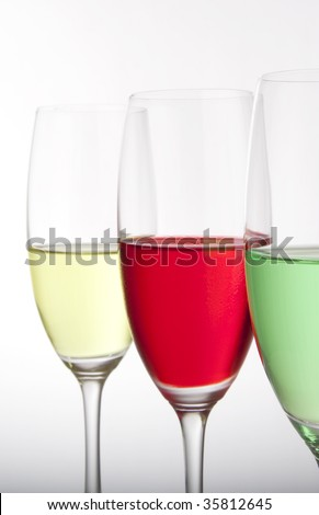 Colorful cocktails for a party or celebration served in a champagne glass