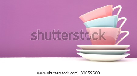 Colorful coffee cups - stock photo