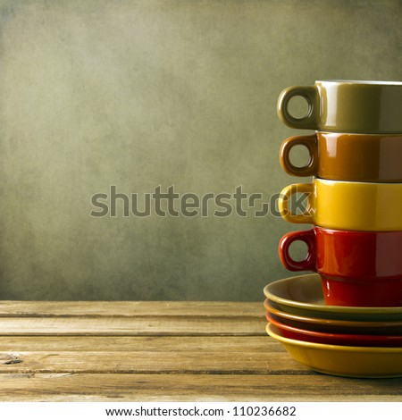 Colorful coffee cups background - stock photo