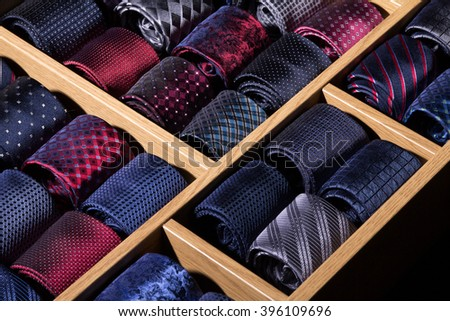 colorful coiled ties on display at mall