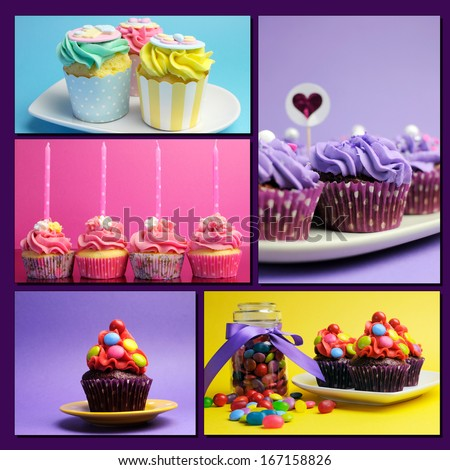 Colorful collage of bright color cupcakes for birthday, wedding, halloween, Christmas, baby or bridal shower, and wedding special occasions. - stock photo