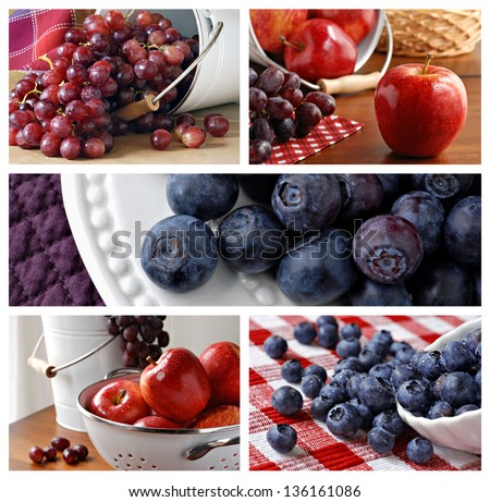 Colorful collage of fresh fruit images - includes grapes, apples, and blueberries. - stock photo