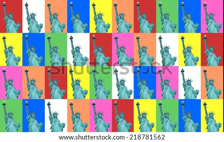 Colorful collage of Lady Liberty. (New York City) - stock photo