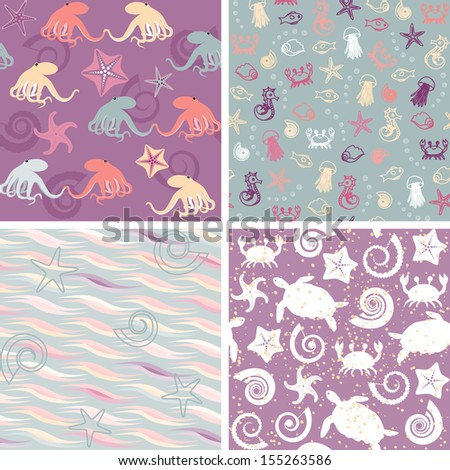 Colorful collection of sea life seamless patterns. Raster version. - stock photo