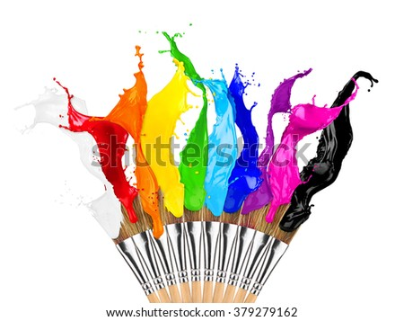 colorful color splashes paintbrush row isolated on white background