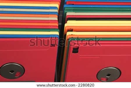 Colorful computer floppy diskettes - stock photo