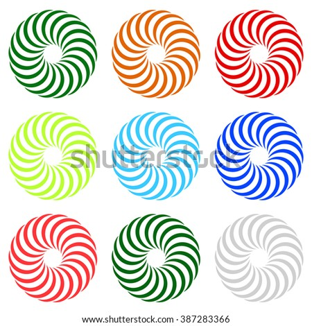 Colorful concentric, radial, radiating spiral elements with curved lines