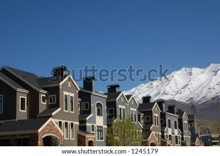 colorful condominiums - stock photo