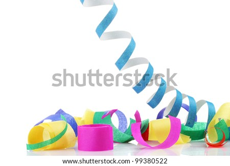 colorful confetti  and serpentine isolated on white - stock photo