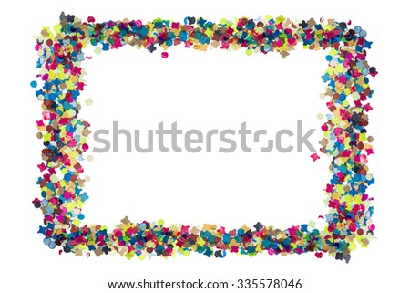 colorful confetti for celebration card forming a frame